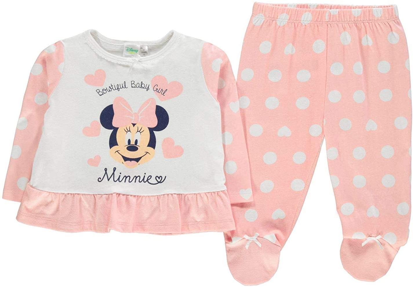 Character Wear Minnie Mouse 2 Piece Pyjama Set Baby Girls Pink Pajamas Nightwear