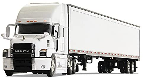 First Gear 1/64 Scale Diecast Collectible White/White Mack Anthem Sleeper Cab Tractor with 53' Trailer (#60-0367)
