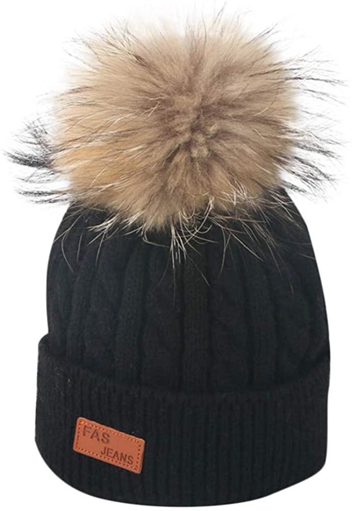 WARMSHOP Baby Hat Cute Hairball Kids Cuff Knit Beanie Lovely Winter Warm Crochet Cap for Boys Girls 2-8 Years