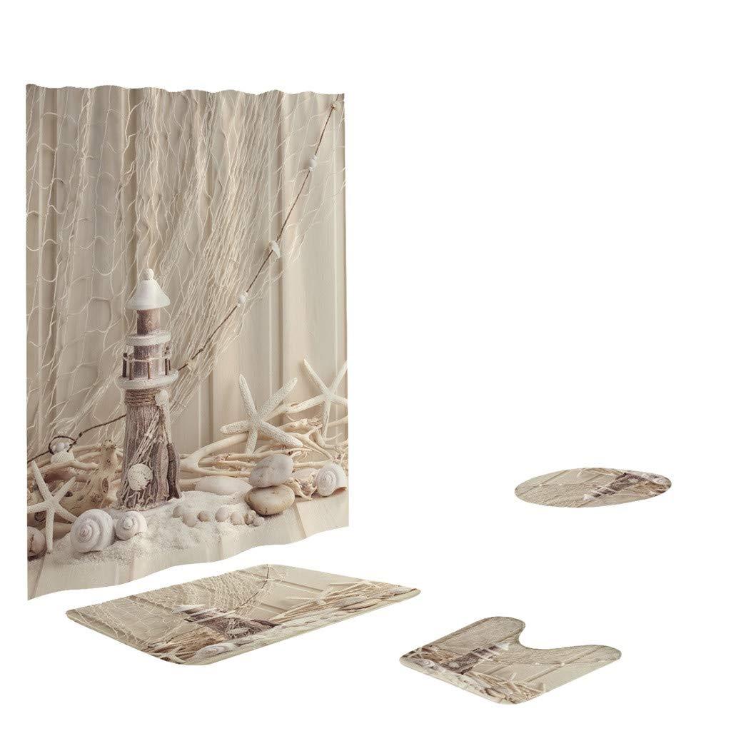 Tower Shower Curtain Shower Mat Set 4 Toilet Cover Bathroom Base Carpet + Cover Toilet Cover + Shower Mat Mildew-Proof Shower Curtain