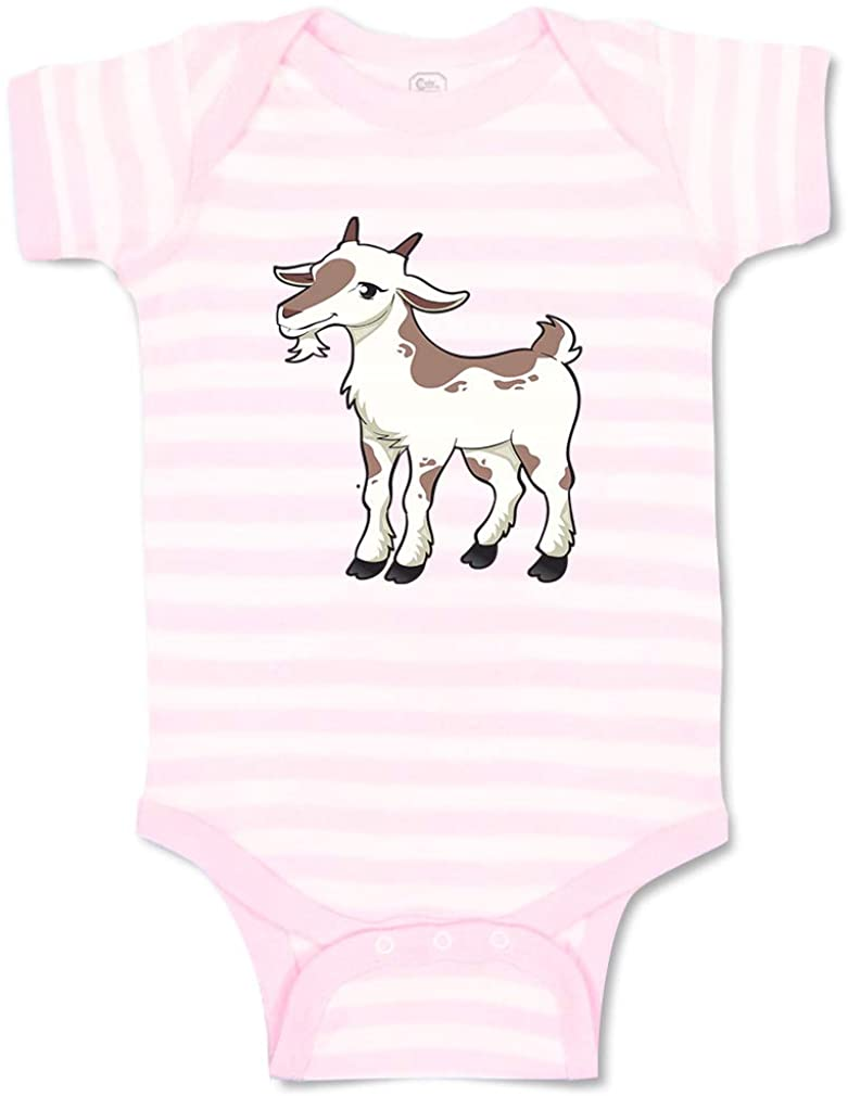 Custom Boy & Girl Baby Bodysuit Goat Female Farm Funny Cotton Striped Baby Clothes