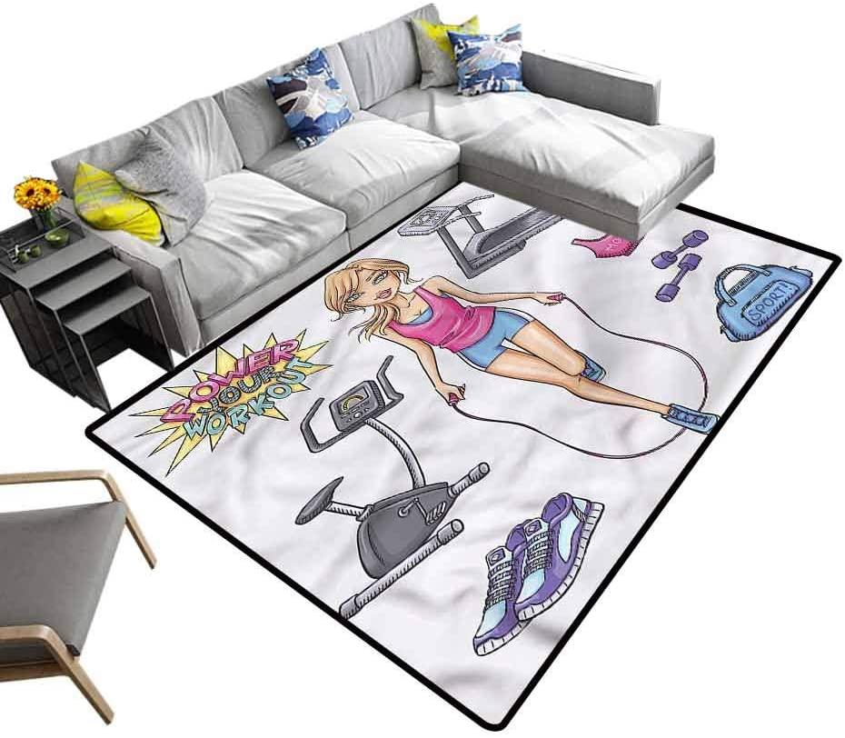 Fitness, Nursery Rug Cartoon Girl Work Out Baby Floor Playmats Crawling Mat for Kids Living Room Nursery Home Decor, 5'x 8'