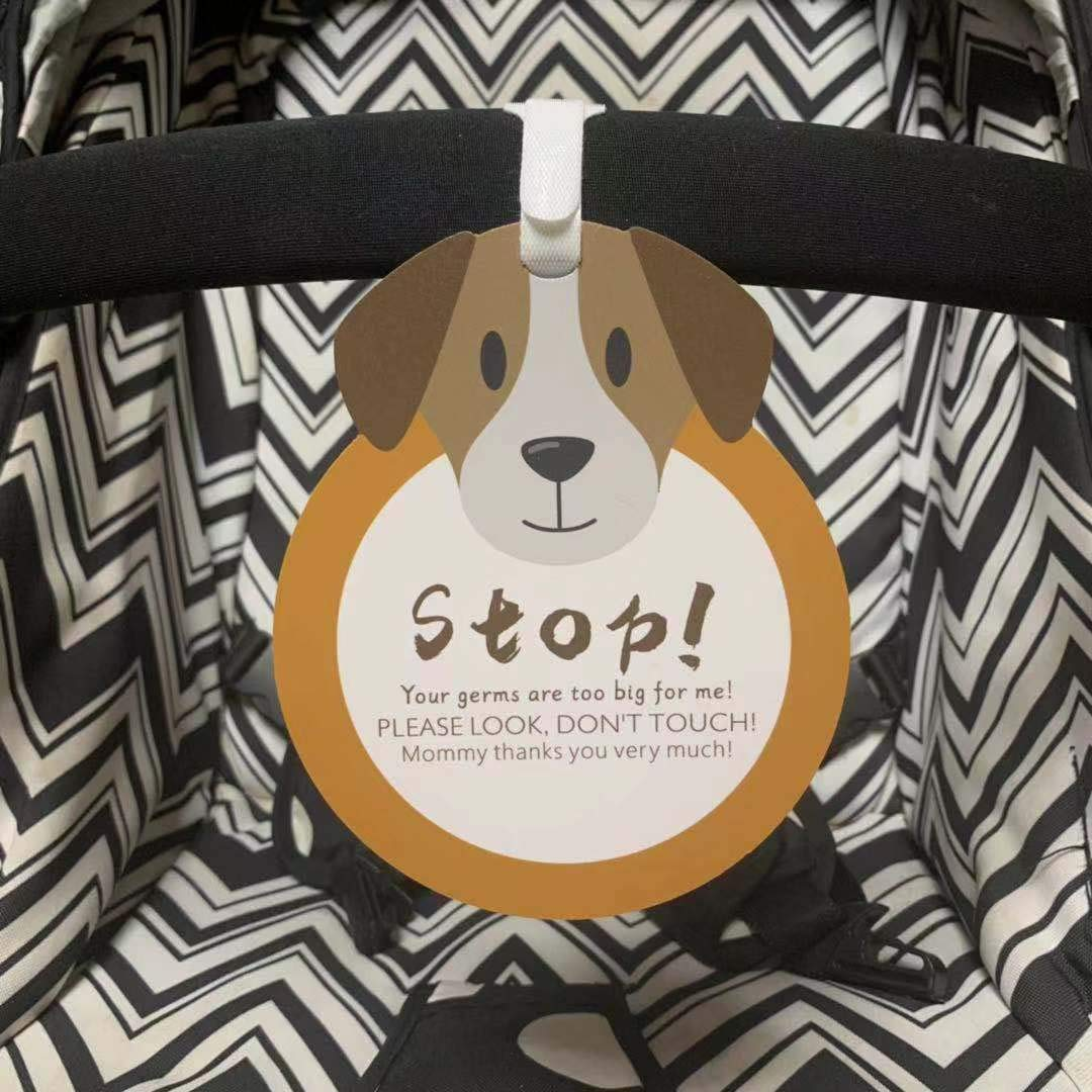 Puppy-Stop,Please Look,Don't Touch Baby Sign Tag (Girl Sign, Newborn, Baby Tag, Baby Bed Tag,Stroller Tag, Carrycot Basket Tag,Baby Preemie No Touching Sign Tag) W/Hanging Straps