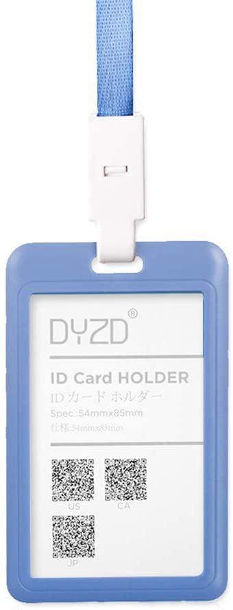 DYZD Hard Plastic Badge Holders ID Card Holders Waterproof ID Holders with Neck Lanyards ID Badge Card Holder (Grey-Blue,2 PCS)
