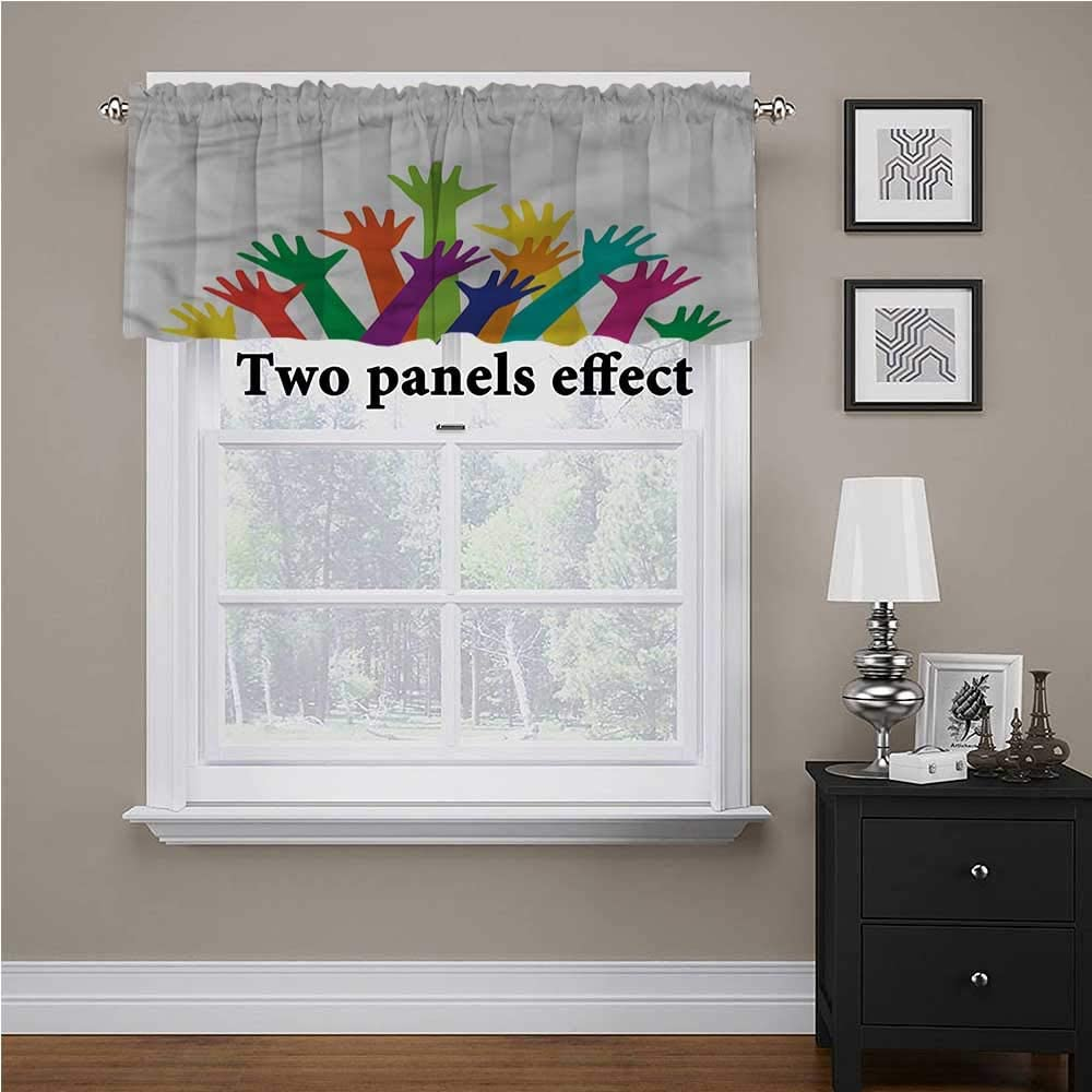 shirlyhome Colorful Window Treatments Silhouette of Hands for Kids Room/Baby Nursery/Dormitory, 54 Inch by 18 Inch 1 Panel