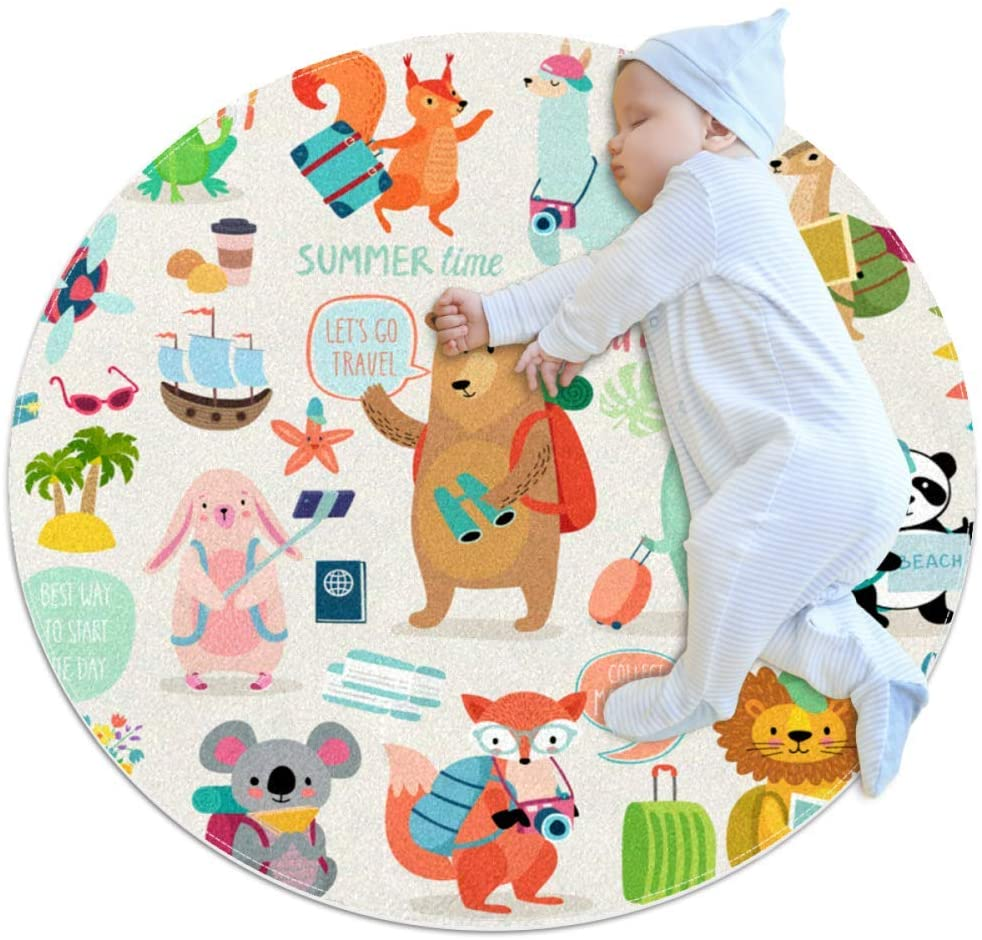 Color Cartoon Animals Baby Area Rug Home Decorative Carpet Soft and Washable Pad Non-Slip for Kid's Toddler Infants Room 3feet 3.4inch