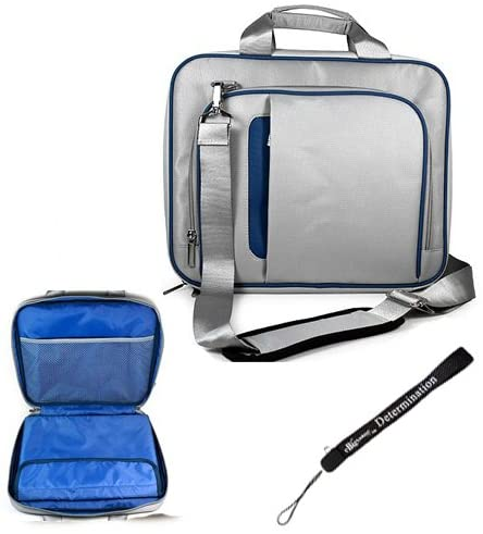 Silver Blue Smart Travel Carrying Case with Adjustable Shoulder Strap for HP SlateBook X2 10.1 inch Android 4.2 Jelly Bean OS Table and an eBigValue Determination Hand Strap
