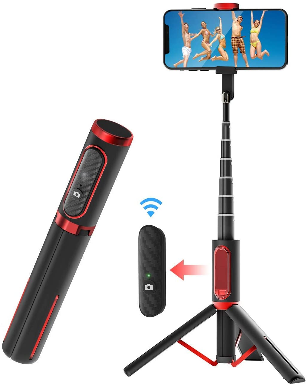 AWZSDF Bluetooth Selfie Stick, Lightweight Aluminum All in One Extendable Selfie Stick Tripod with Wireless Remote for iPhone Xs MAX/XS/XR/X/8/8P/7/7P/6s/6, Samsung Galaxy S10/S9/S8, Huawei, More
