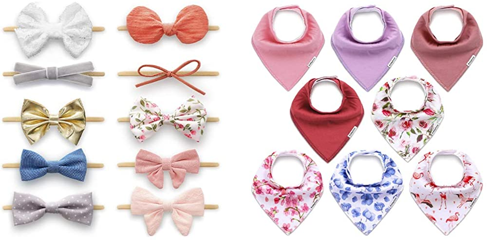Baby Girl Headbands & Baby Bibs for Girls 8 Pack - Nylon Hairbands Hair Accessories and Soft & Absorbent Bandana Bibs