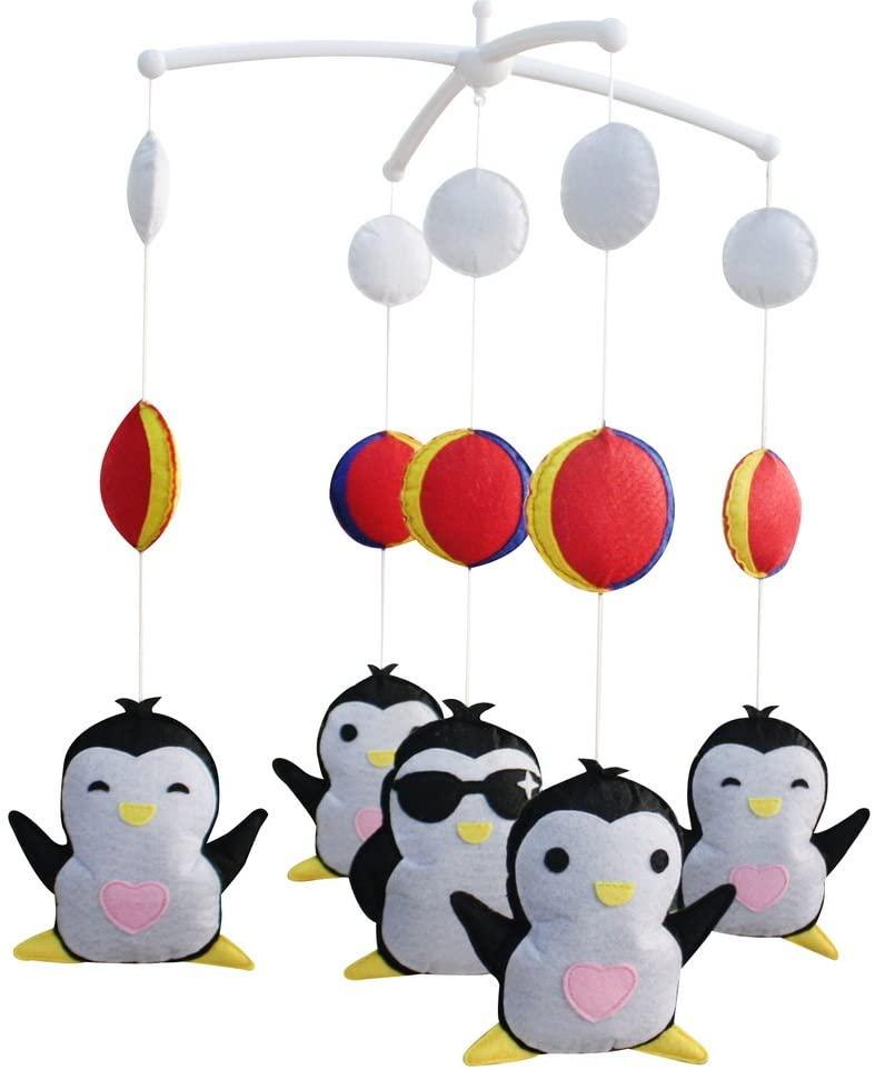 Panda Legends Handmade Baby Crib Mobile Animal Hanging Musical Mobile Infant Nursery Room Toy Decor, Penguin