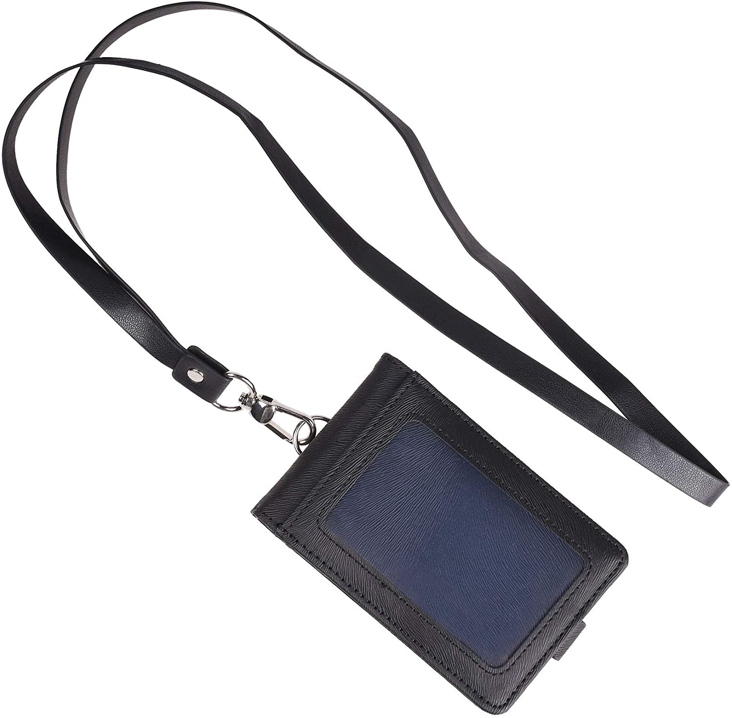 COSMOS Black Color Folding PU Leather Vertical ID Card Holder with 2 ID Window and 3 Card Slots, with PU Neck Strap Band Lanyard