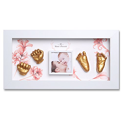 Momspresent Baby Hand Print and Foot Print Deluxe Casting kit with White Frame5