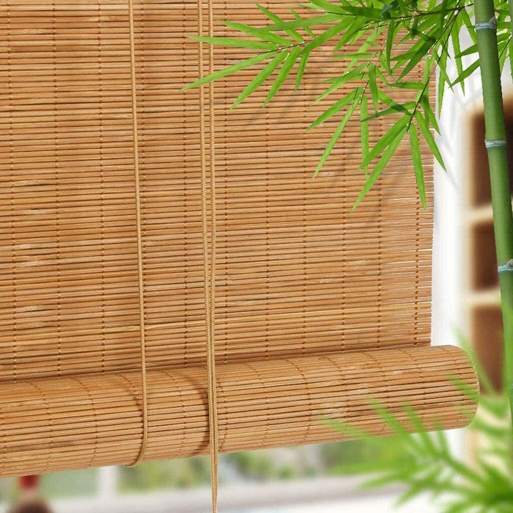 JN Balcony partition Curtain Roller Shade Roll Up Blind for Garden/Gallery/Balcony -Windows Sun Shade Bamboo with Valance, Both Indoor and Outdoor Use Can Customizable Shade Bamboo Blinds
