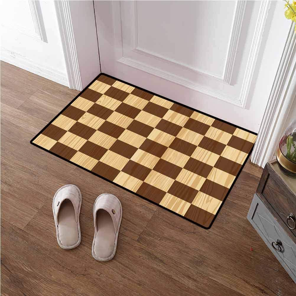 Front Door Mat Checkered Nursery Rug Playmat Rugs Empty Checkerboard Wooden Seem Mosaic Texture Image Chess Game Hobby Theme Carpets for Nursery Baby Rooms Brown Light Brown 24x48 inches