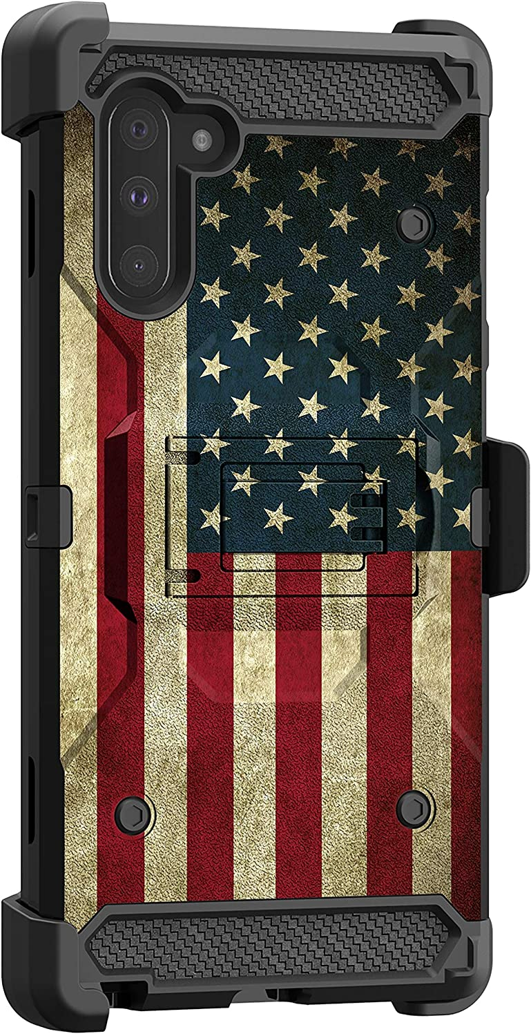 MINITURTLE Compatible with Samsung Galaxy Note 10 (6.3) Triple Layer Combo 360 Degree Rotating Belt Clip Case [Max Guard] - Vintage American Flag
