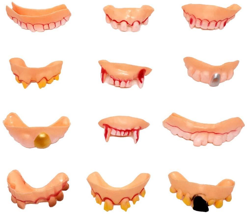 ZERIRA 12 pcs Ugly False Teeth Halloween Vampire Fangs Halloween Party Masquerade Funny Braces