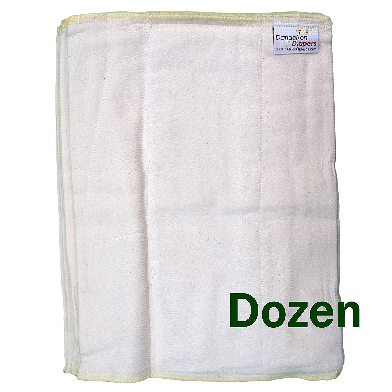 Dandelion Diapers 100% Organic Cotton Natural Unbleached DSQ Cloth Diaper Prefolds (Infant Size 2-12 Pack)