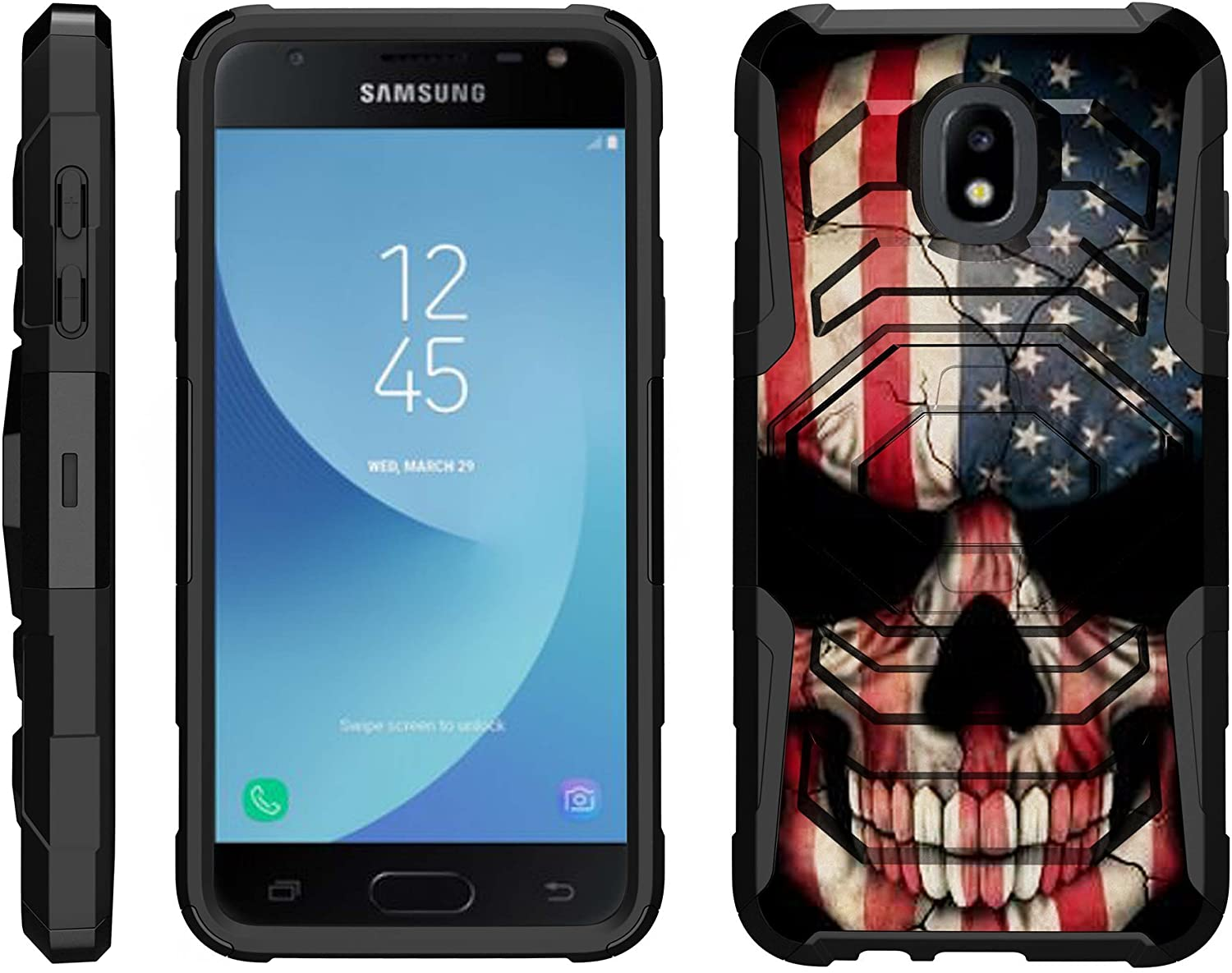 TurtleArmor | Compatible with Samsung Galaxy J3 (2018) Case | J337 [Octo Guard] Dual Layer Case Holster Belt Clip Sturdy Kickstand Cover - US Flag Skull