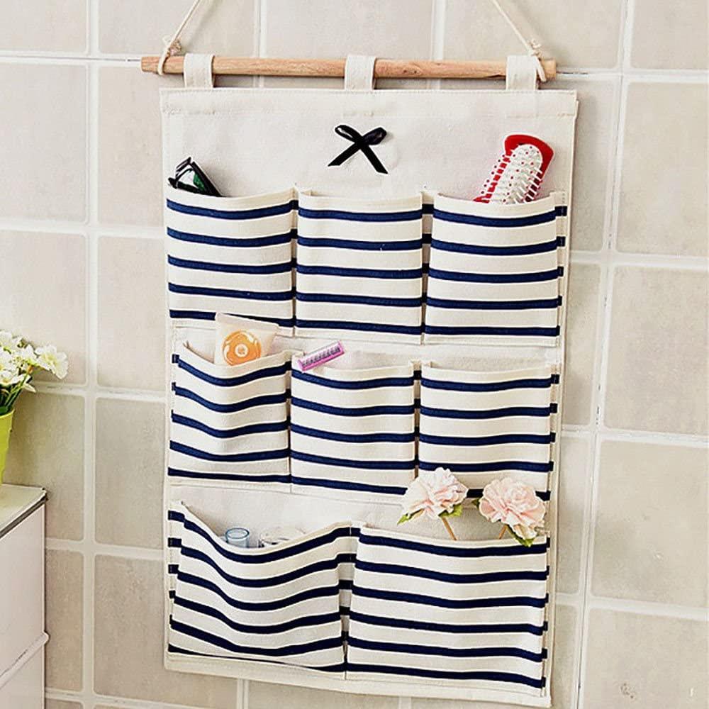OKOKMALL US--8 Pockets Wall Door Closet Hanging Storage Bag Organizer Linen/Cotton Fabric