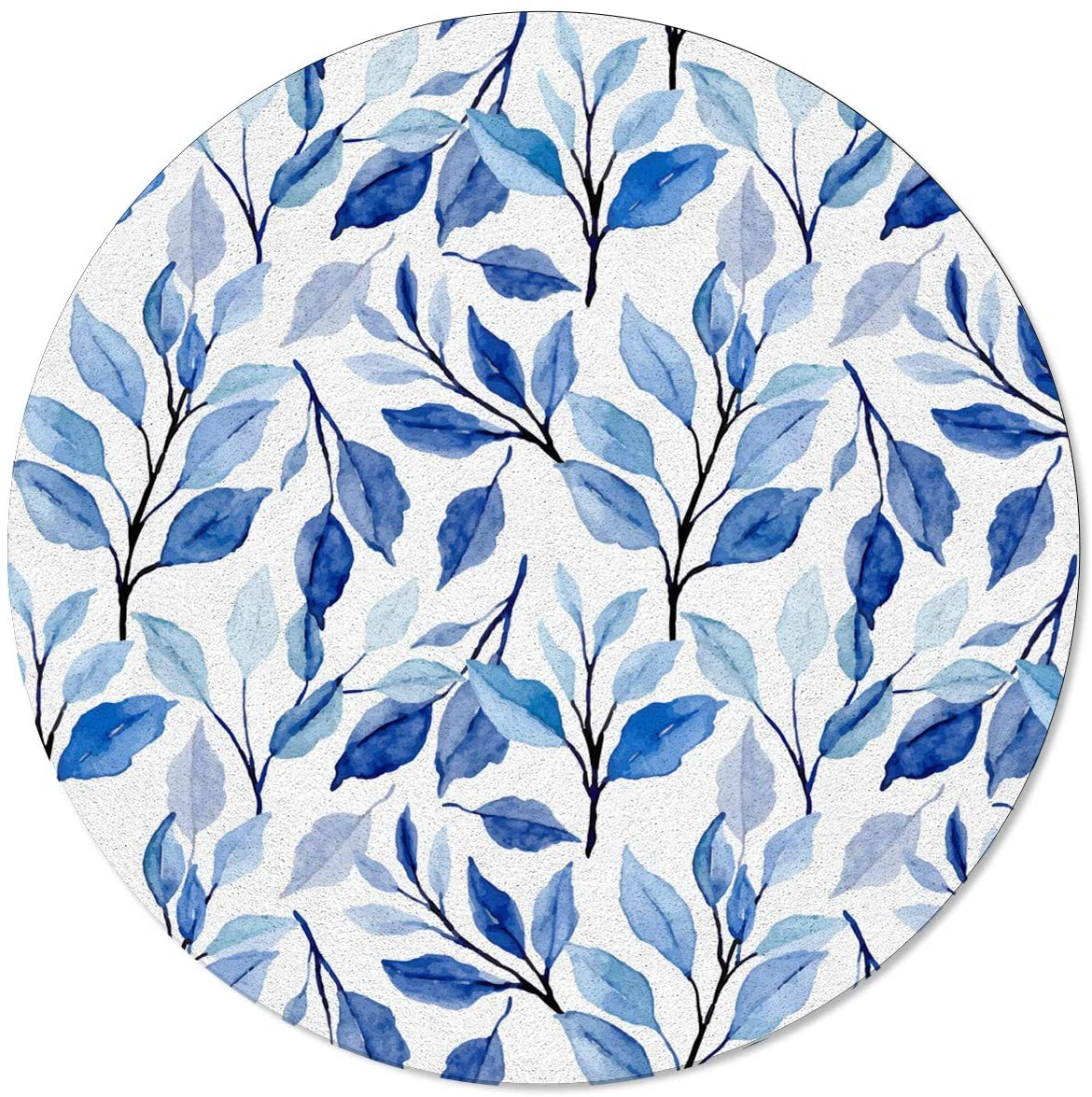 SunShine Day Modern Round Area Mats, Ethnic Style Indigo Blue Tree Leaves Large Rugs for Nursery Kids, Floor Mats for Any Entrance Or Exit 6 Feet