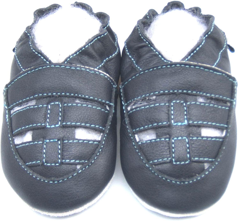Leather Baby Soft Sole Shoes Boy Girl Infant Children Kid Toddler Crib First Walk Gift Sandal Strap Navy