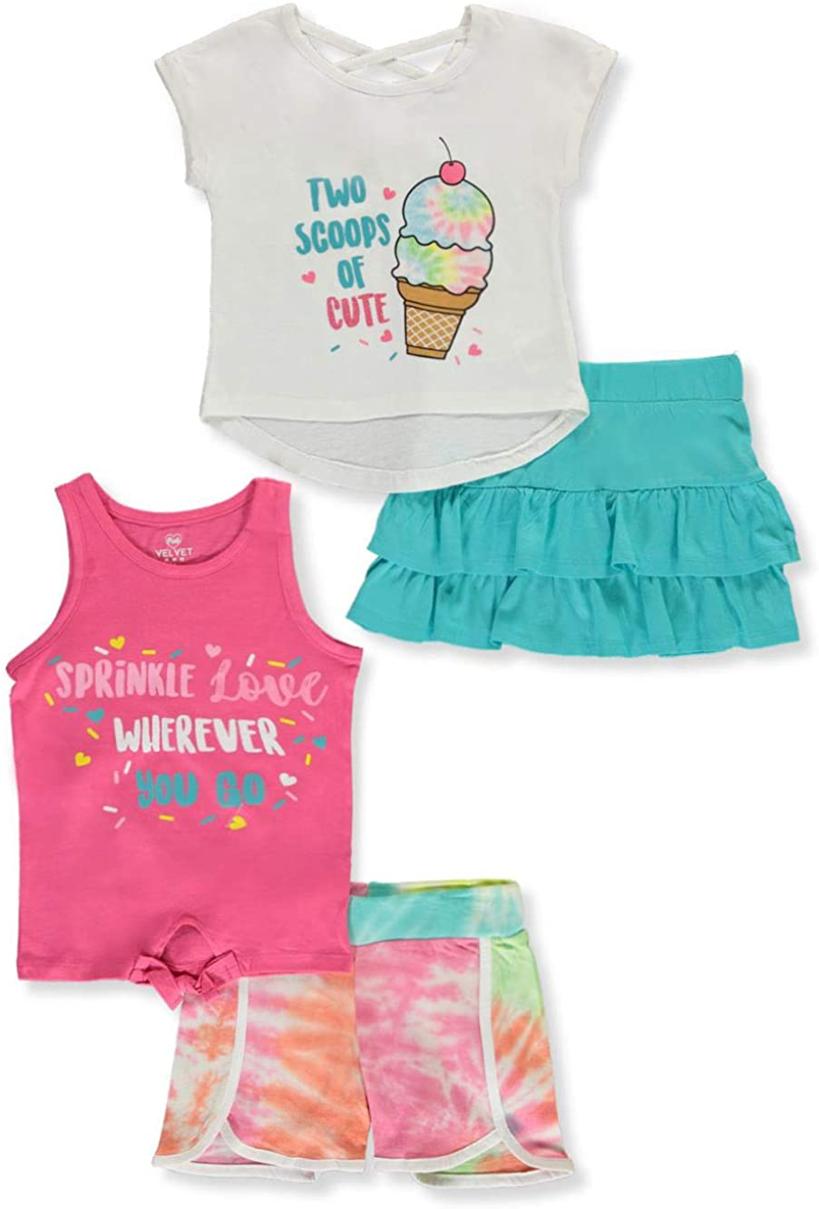 Pink Velvet Toddler Glitter and Tie Dye 4-Piece Shorts Set Outfit - ice Cream,