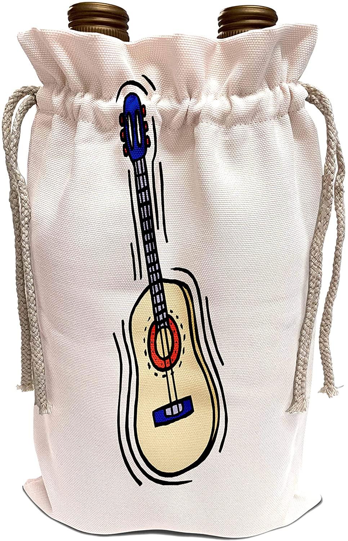 3dRose Susans Zoo Crew Music Instrument Guitar - guitar acoustic simple red blue - Wine Bag (wbg_175942_1)