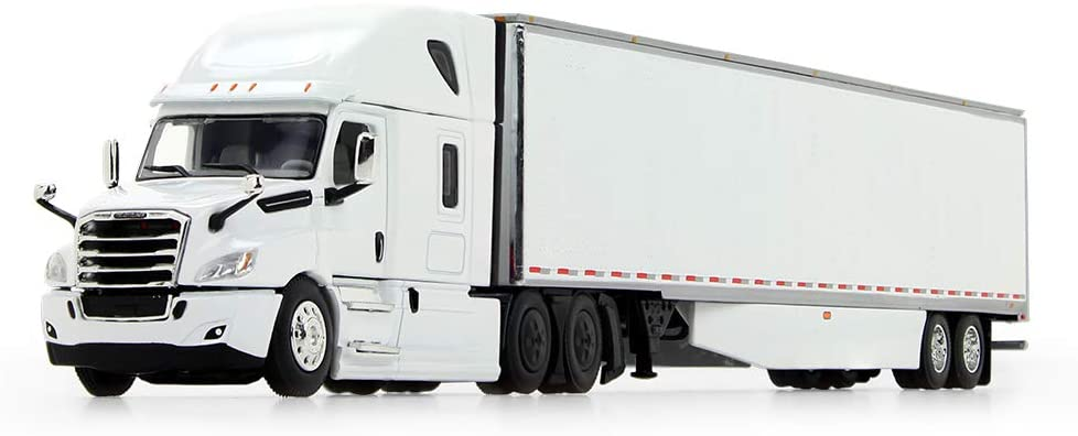 First Gear 1/64 Scale Diecast Collectible White/White Freightliner New Cascadia High-Roof Sleeper with 53' Utility Trailer with Skirts (60-0744)