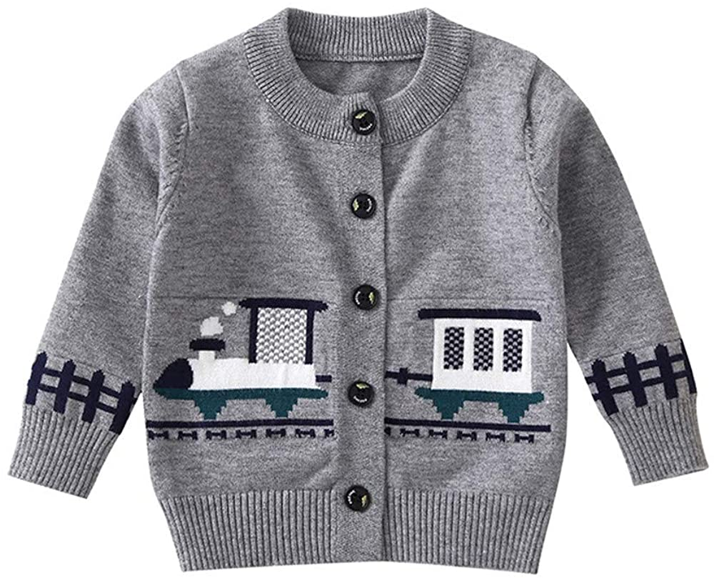 FORESTIME Autumn Baby Boys Girls Sweater Knitted Long Sleeves Cartoon Train Coat O-Neck Button Clothes