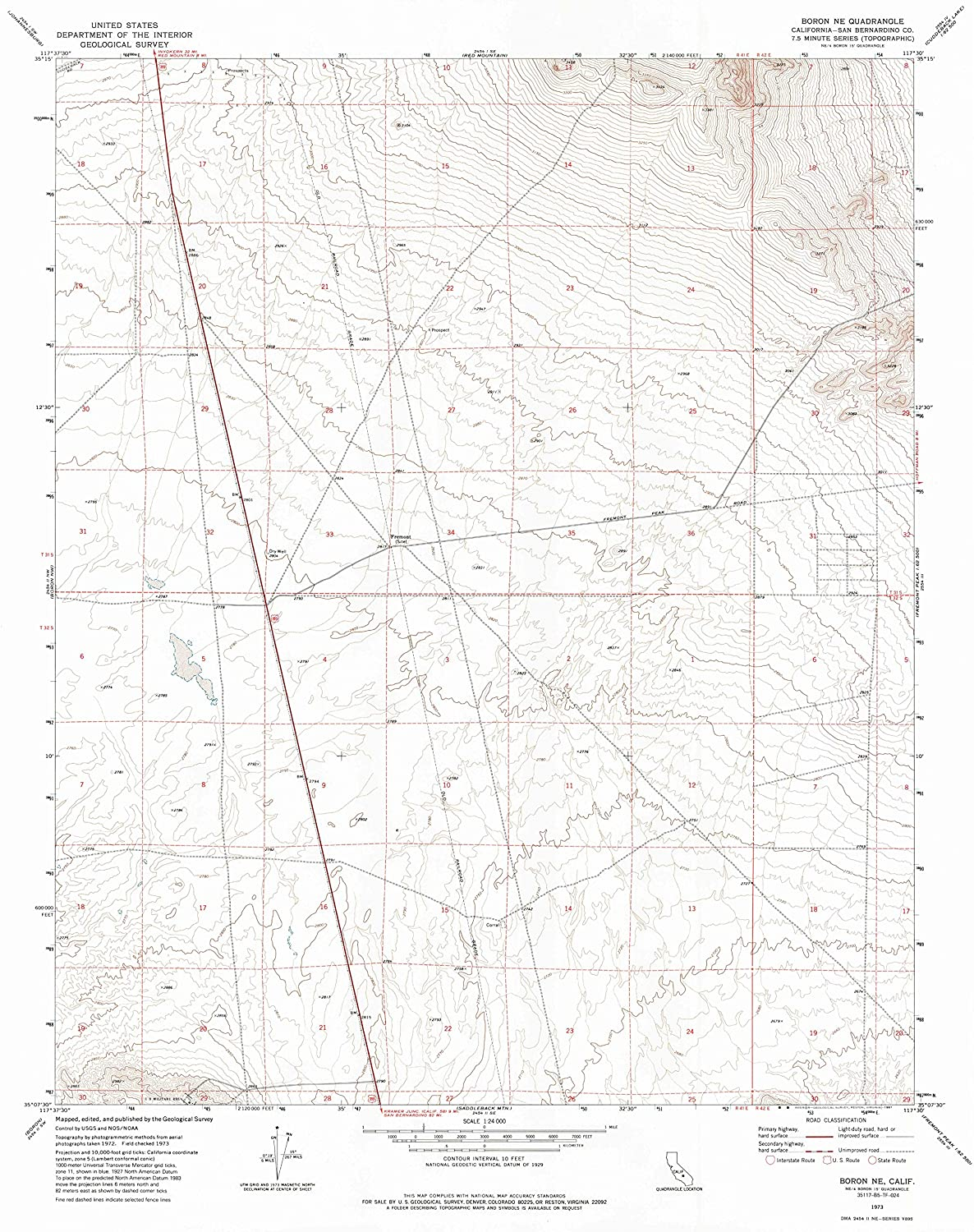 Map Print - Boron NE, California (1973), 1:24000 Scale - 24