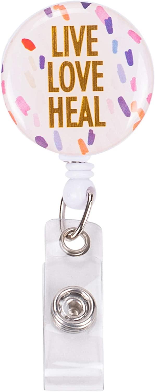 Live Love Heal Confetti Pastel 3 x 1 Acrylic Retractable Badge Reel