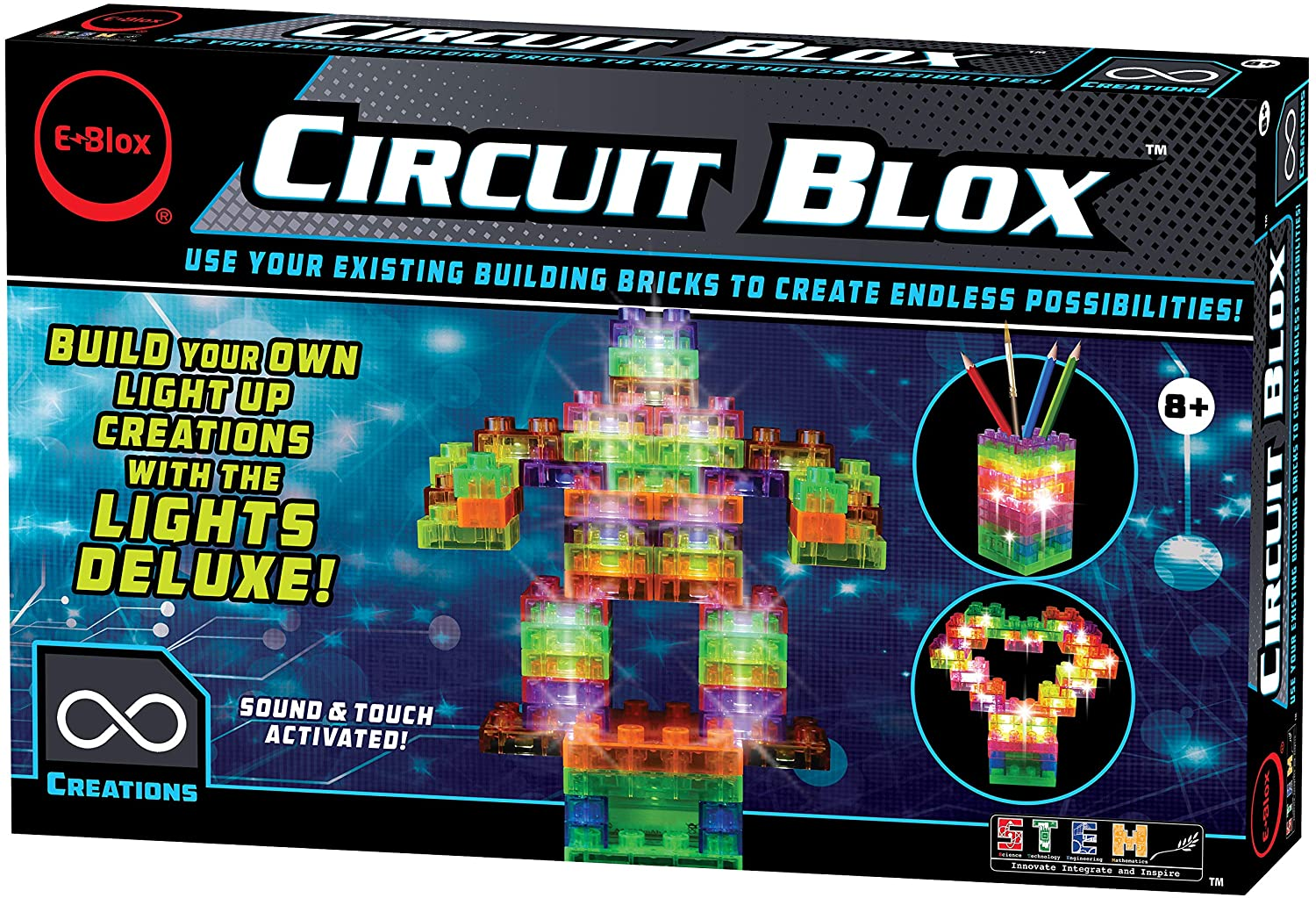 E-Blox Circuit Blox Lights Deluxe Set - Sound and Touch Activated Circuit Board Building Blocks Toys Set for Kids Ages 8+