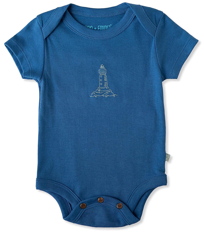 Finn + Emma Organic Cotton Lap Bodysuit for Baby Boy or Girl – Delft Blue, 0-3 Months