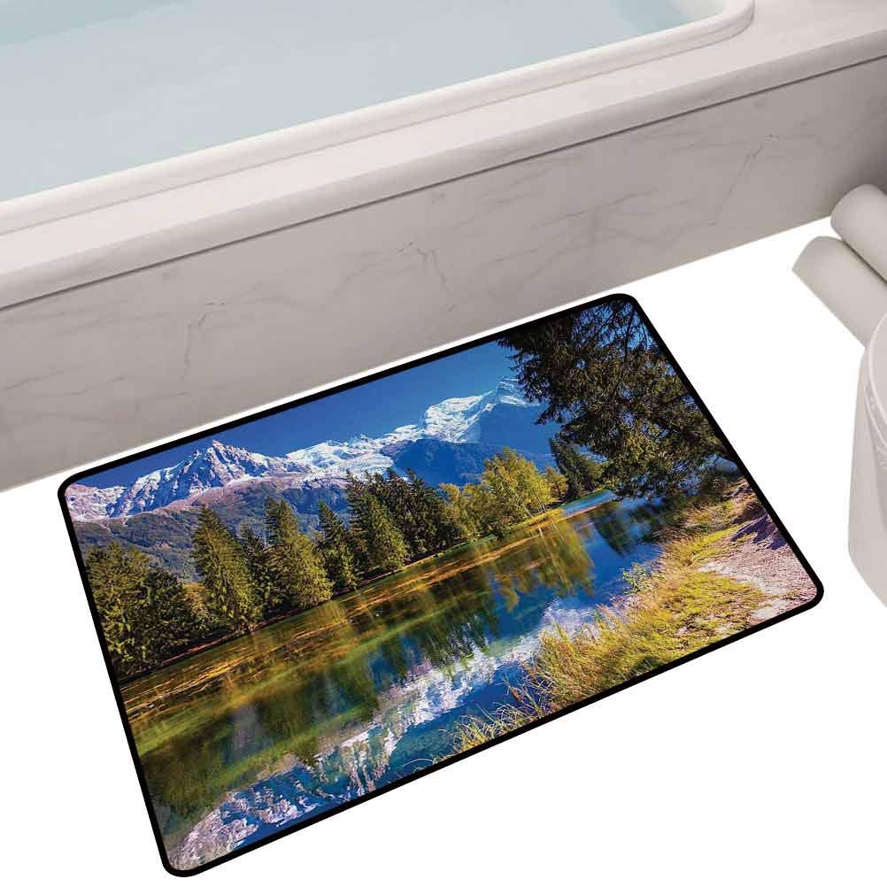 Bath Mat Set Kitchen Door Snow Covered Alps Peaks Covered with Fir Trees in Lake Natural Paradise,32