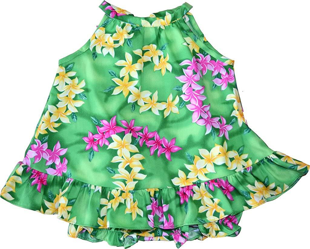 RJC Baby Girl's Colorful Plumeria Halter Ruffle Hawaiian 2 Piece Dress Set
