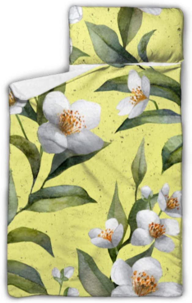 MBVFD Jasmine Flower Branch Travel Sleeping Bags Kids Camping Sleeping Bag with Blanket and Pillow Rollup Design Great for Preschool Daycare Sleepovers 50