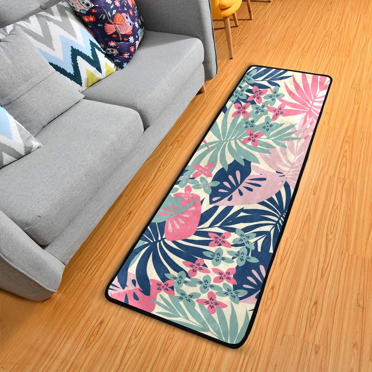 Hallway Runner Rug Rubber Backing - Tropical Leaves Runner Rug for Kitchen Rug Carpet Runner Non Skid Washable Rug Runner 2x6