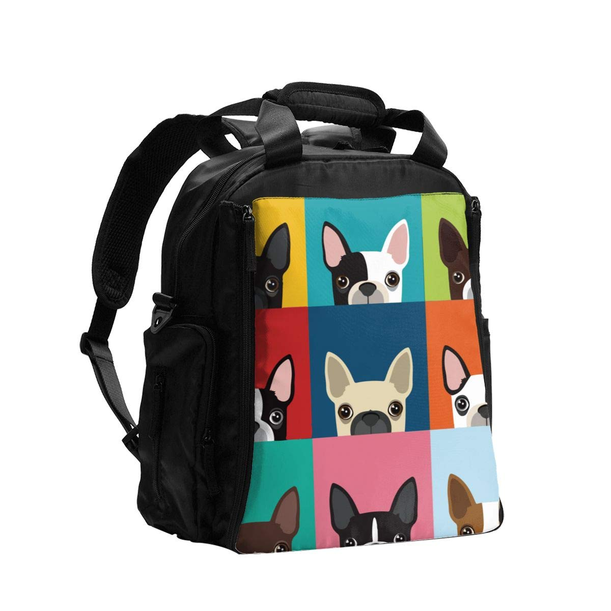 Illustration Boston Terrier Diaper Bag Backpack Travel Backpack Maternity Baby Changing Bags