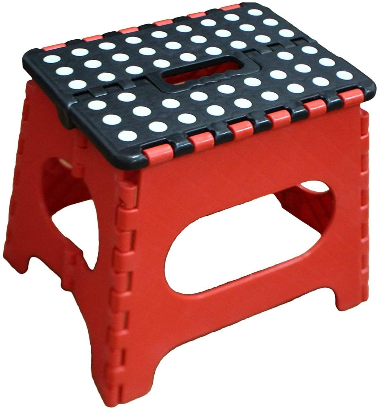 Jeronic Super Strong Folding Step Stool for Adults and Kids, Red Kitchen Stepping, Garden Step Stool, Holds up to 200 lbs.