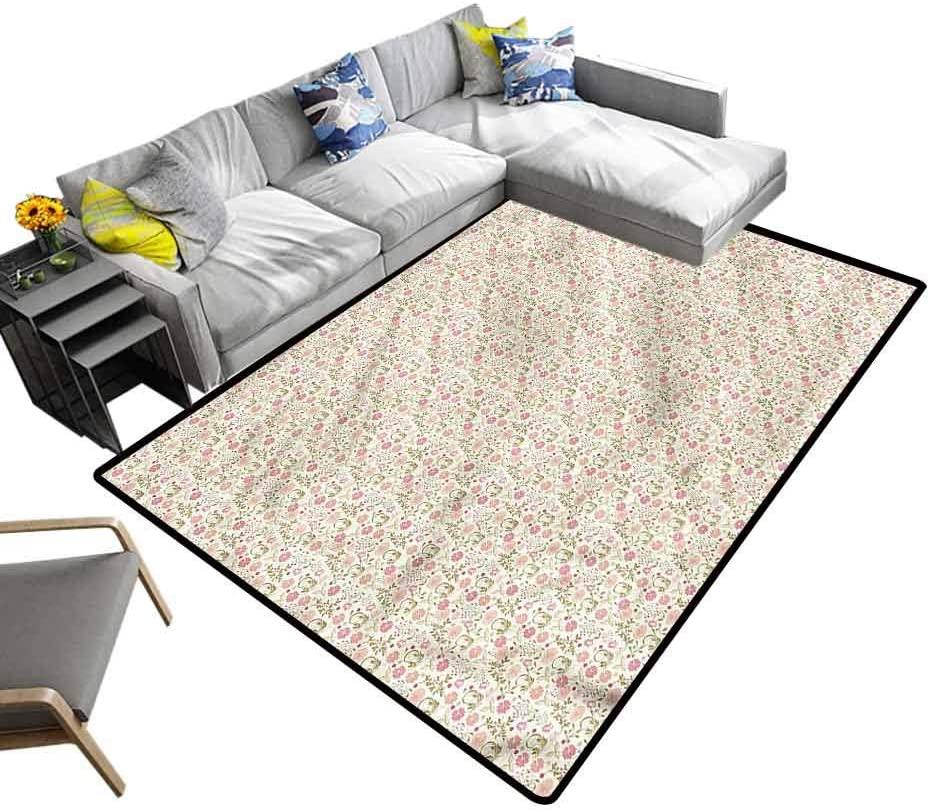 Floral, Floor Mat Soft Summer Foliage Kids Carpet Playmat Rug Suitable for Baby Nursery Decor, 6.5'x 10'