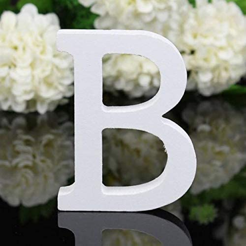 Terraberk 1pc DIY Freestanding Wood Wooden Letters - White Alphabet Wedding Birthday Party - Pack: B