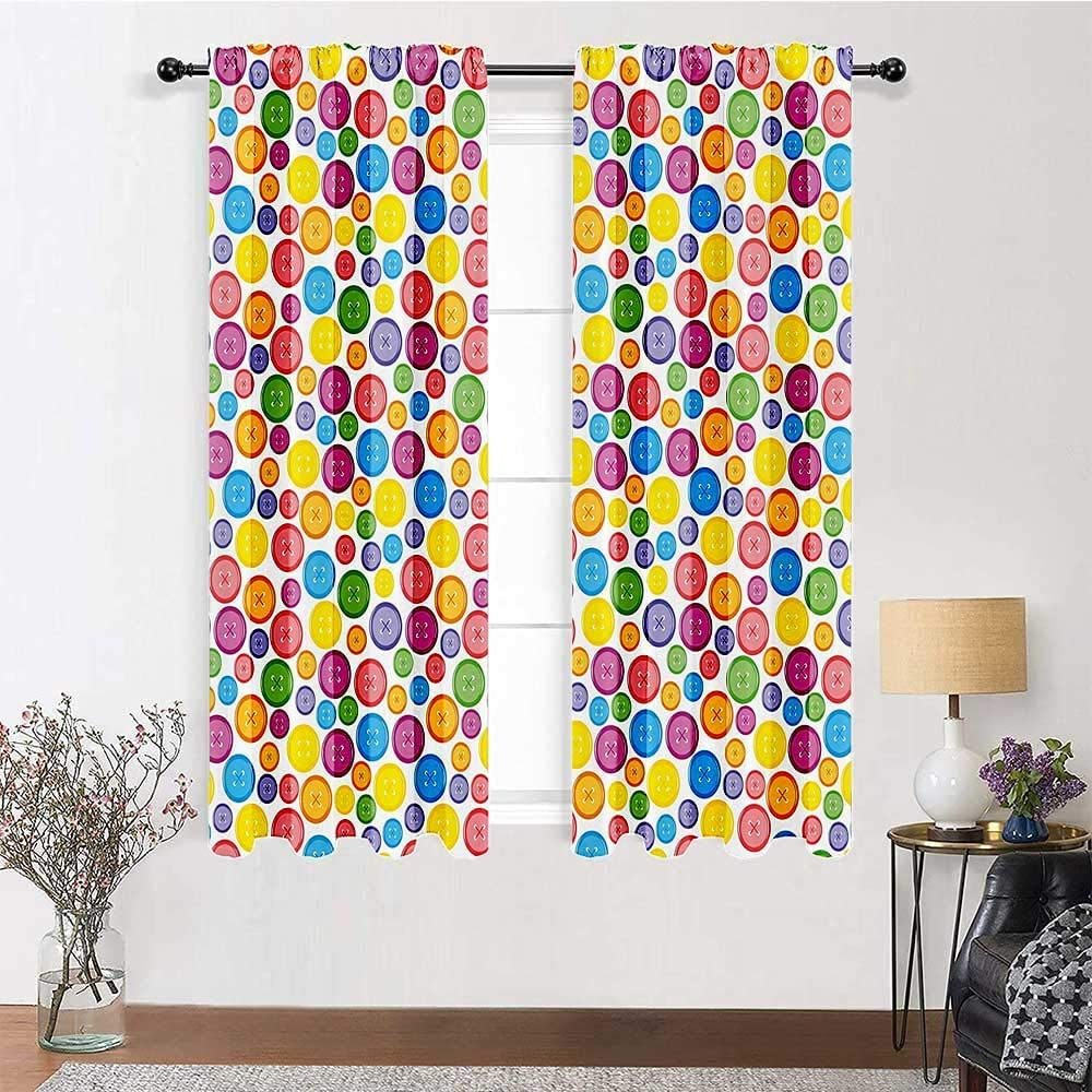 Weatherproof Outdoor Curtains Modern Thermal Prevent Noise Circular Shaped Buttons Pattern in Various Sizes Artistic Kids Nursery Baby Print 2 Panels 72
