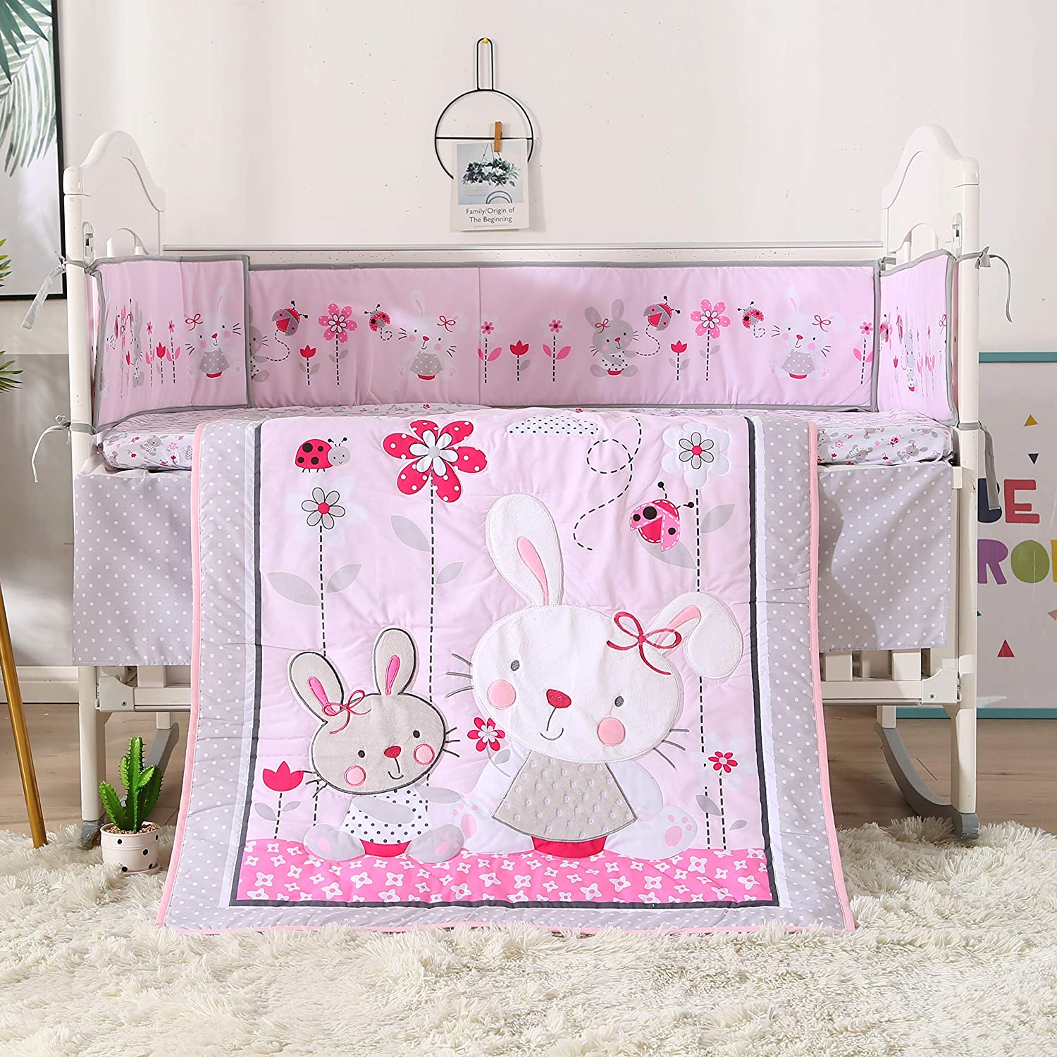 Wowelife Baby Girl Bedding Sets Rabbit 7 Piece 100% Cotton Pink Crib Set with Bumpers(Pink Rabbit)