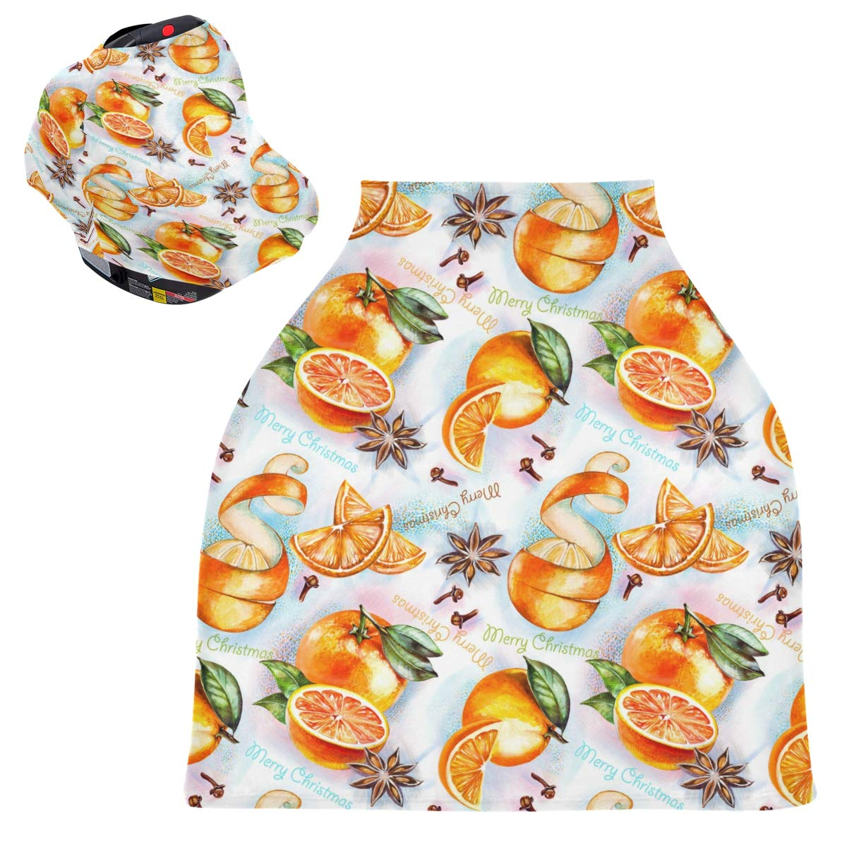 Stretchy Baby Car Seat Canopy - Christmas New Year Oranges Infant Stroller Cover Multi Use Baby Car Seat Covers Nursing Cover for Boy