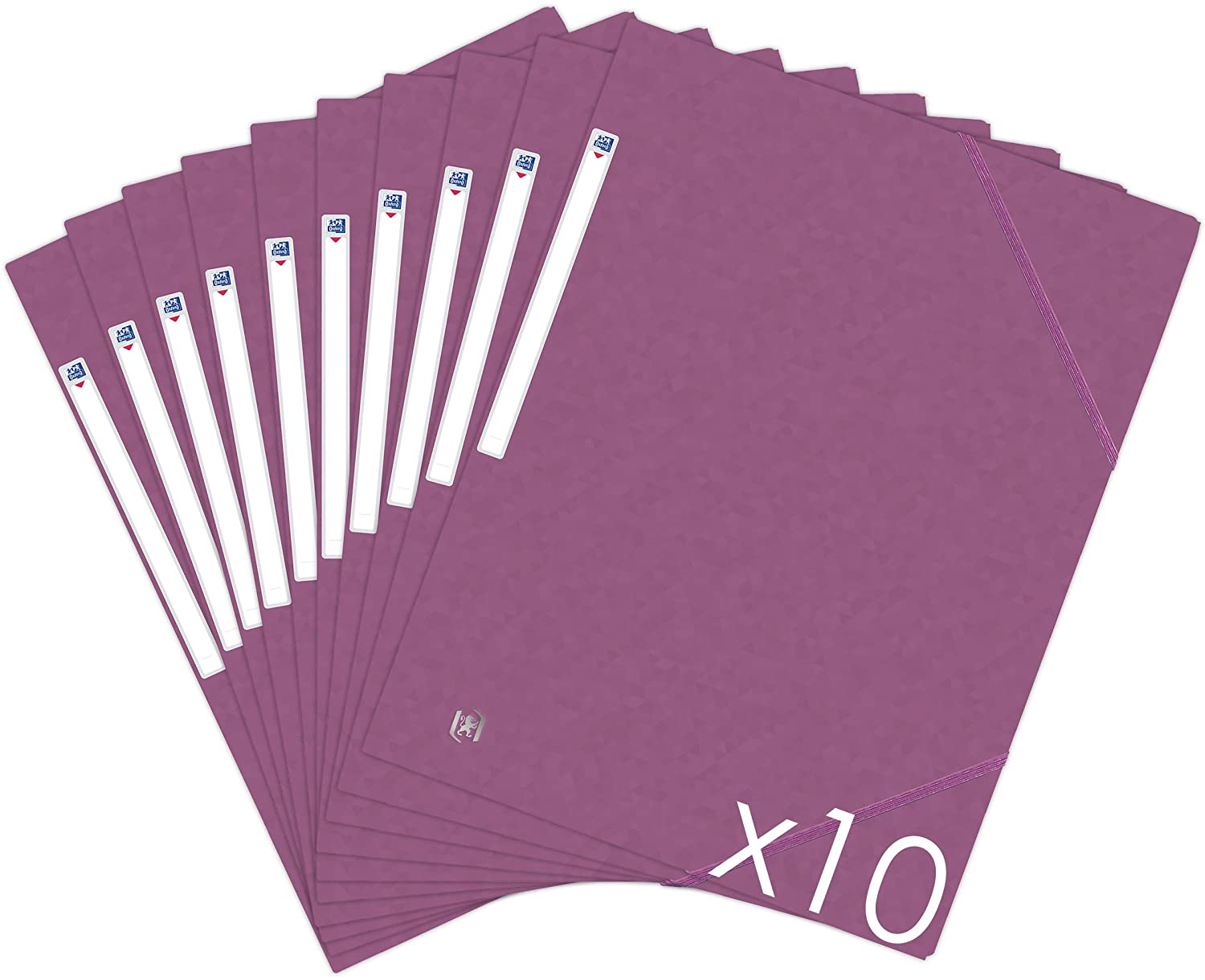 Oxford Topfile+ Pack of 10 Cardboard Folders with 3 Flaps - A4 Format with Elastic Closure - Pockets - Plum Colour