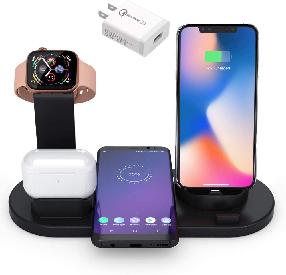Wireless Charging Station,4in1 Charger Stand for Apple Watch and Airpods and Airpods Pro,Fast Wireless Charging Stand with iPhone X/XS/XR/Xs Max/8, Charging Station for iPhone/Samsung/Huawei (Black)