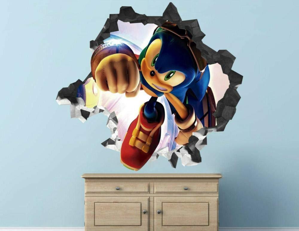 Hedgehog Wall Decal Decoration Kids Smashed 3D Sticker Art Vinyl