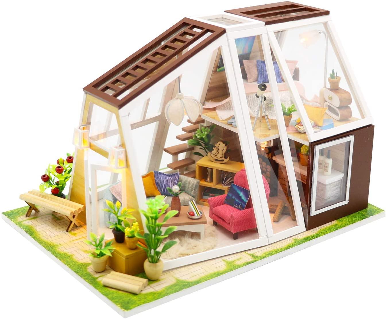 Flever Dollhouse Miniature DIY House Kit Creative Room with Furniture for Romantic Artwork Gift-Aurora Hut