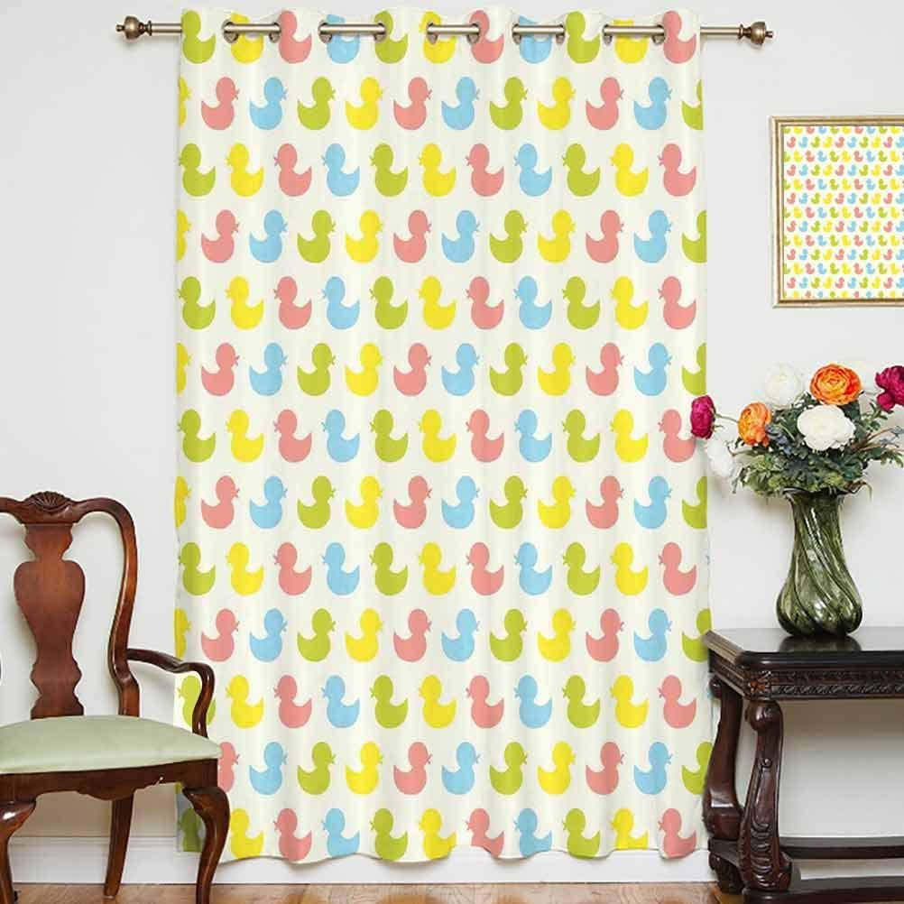 Rubber Duck Window Curtain Colorful Ducklings Baby Animals Theme Pastel Girls Boys Newborn Thermal Backing Sliding Glass Door Drape ,Single Panel 52x84 inch,for Kid's RoomPink Blue Green and Yellow