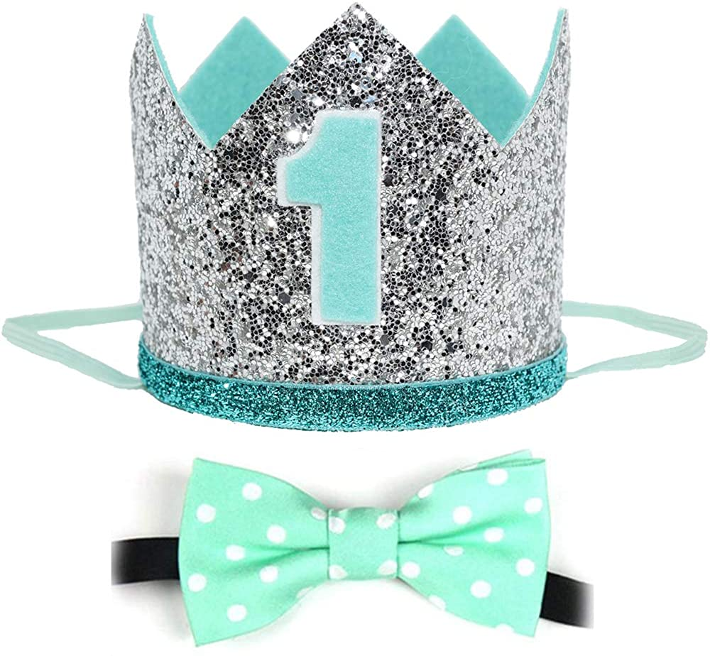 Maticr Glitter Baby Boy First Birthday Crown with Prize Badge or Bow Tie Bibs for Cake Smash Photo Prop